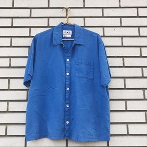 FLAX Short Sleeve Button Up Blouse